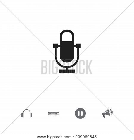Set Of 5 Editable Audio Icons. Includes Symbols Such As Announcement, Phonogram, Earphone And More