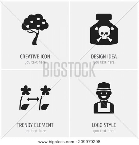 Set Of 4 Editable Gardening Icons. Includes Symbols Such As Farmer, Venom, Fruit Woods And More