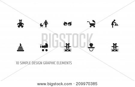 Set Of 10 Editable Kid Icons. Includes Symbols Such As Pacifier, Plush Animal, Twins Babies And More