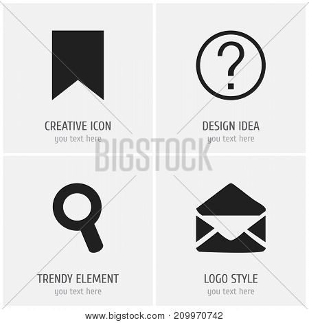 Set Of 4 Editable Web Icons. Includes Symbols Such As Tag, Quiz, Magnifier And More