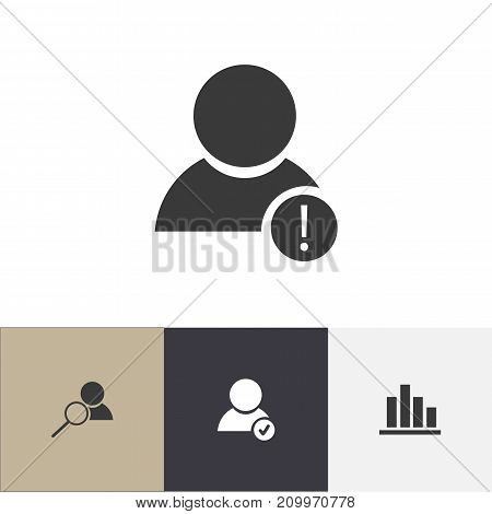 Set Of 4 Editable Global Icons. Includes Symbols Such As Error Account, Approve User, Line Chart And More