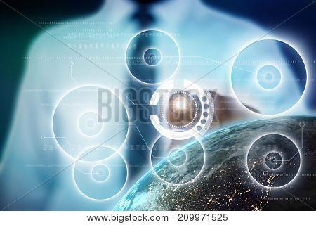 Businessman using digital screen against blue background with vignette