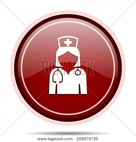 Nurse red glossy round web icon. Circle isolated internet button for webdesign and smartphone applications.