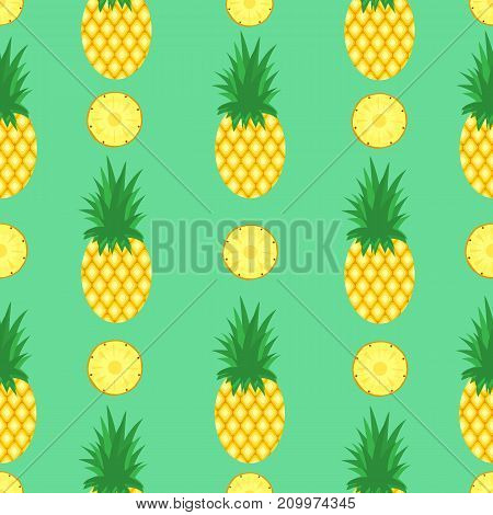 Seamless pattern with pineapples and pineapple slices on mint green background. Pineapple background. Bright tropic fruits illustration.