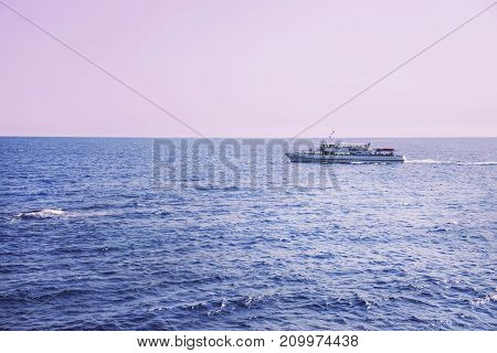The ship sails on the sea during a pink sunset. Russia, the Crimea.