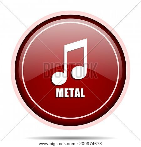 Metal music red glossy round web icon. Circle isolated internet button for webdesign and smartphone applications.
