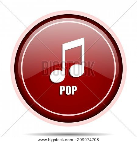 Pop music red glossy round web icon. Circle isolated internet button for webdesign and smartphone applications.