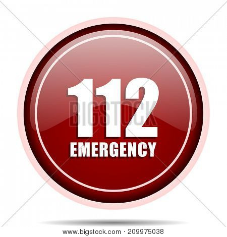 Number emergency 112 red glossy round web icon. Circle isolated internet button for webdesign and smartphone applications.