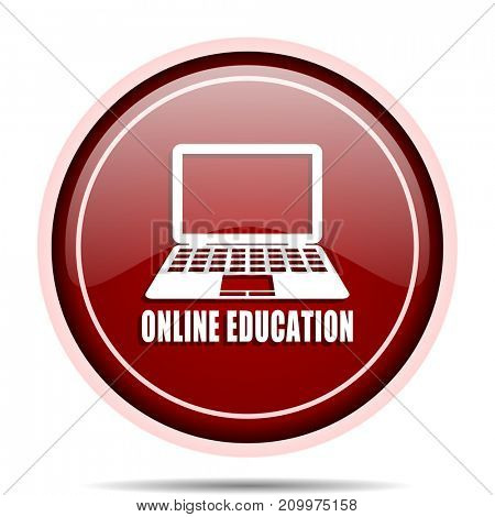 Online education red glossy round web icon. Circle isolated internet button for webdesign and smartphone applications.