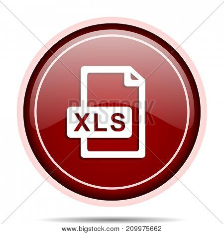 Xls file red glossy round web icon. Circle isolated internet button for webdesign and smartphone applications.