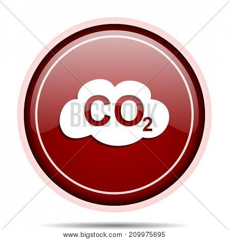Carbon dioxide red glossy round web icon. Circle isolated internet button for webdesign and smartphone applications.