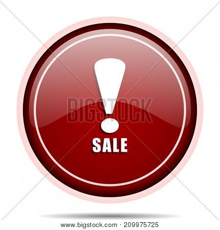 Sale red glossy round web icon. Circle isolated internet button for webdesign and smartphone applications.