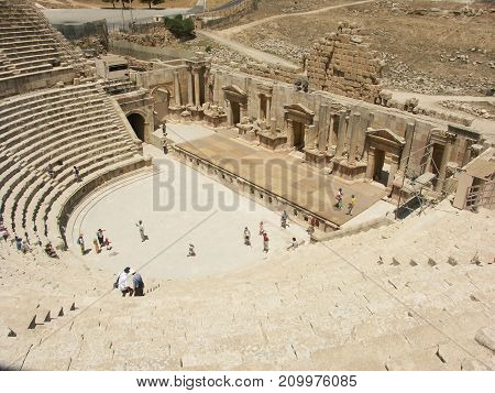North theatre in the roman Ruins of the old city of Jerash in Jordan