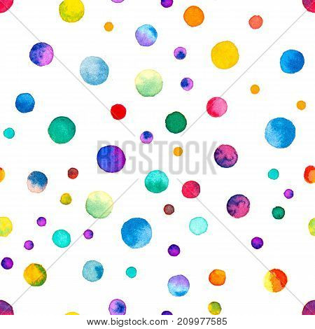 Watercolor Confetti Seamless Pattern. Hand Painted Excellent Circles. Watercolor Confetti Circles. Y