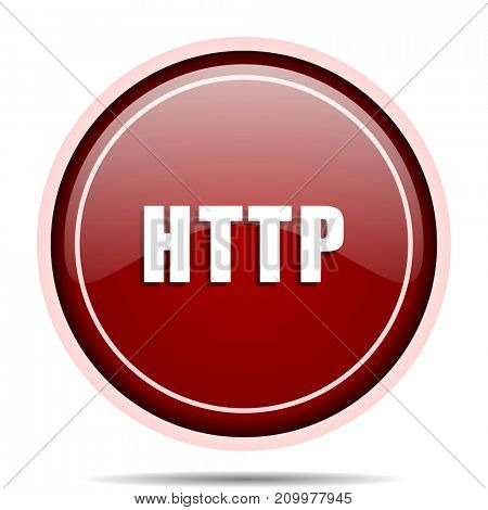 Http red glossy round web icon. Circle isolated internet button for webdesign and smartphone applications.