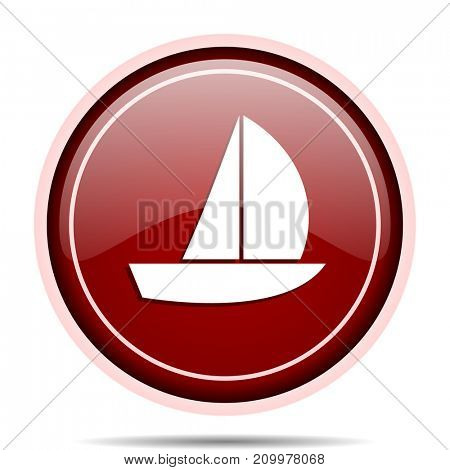 Yacht red glossy round web icon. Circle isolated internet button for webdesign and smartphone applications.