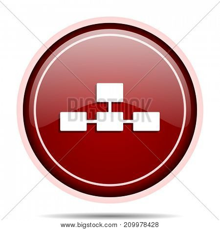 Database red glossy round web icon. Circle isolated internet button for webdesign and smartphone applications.