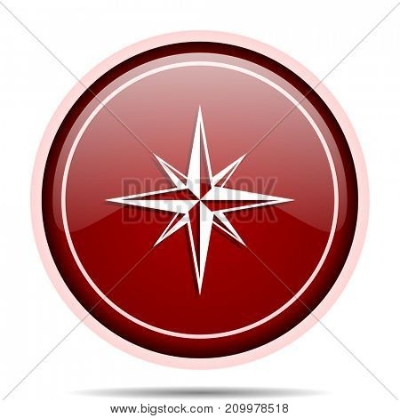 Compass red glossy round web icon. Circle isolated internet button for webdesign and smartphone applications.