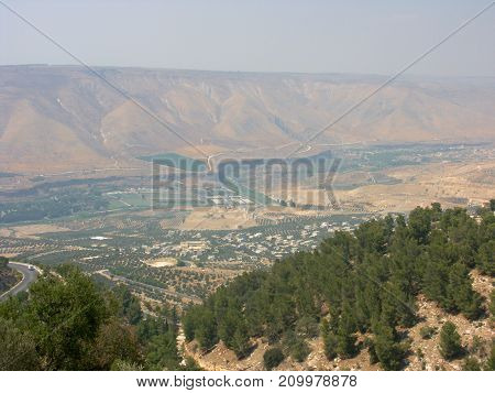 Arava valley in the north Jordan arid landscape at the border with Israel