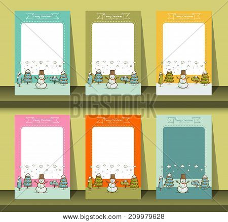 Set of brochures in cartoon style winter Nature landscape with Christmas trees snowman snow drifts. merry christmas and happy new year card background vector illustration