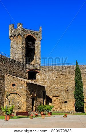 Courtyard Of Montalcino Fortress In Val D'orcia, Tuscany, Italy