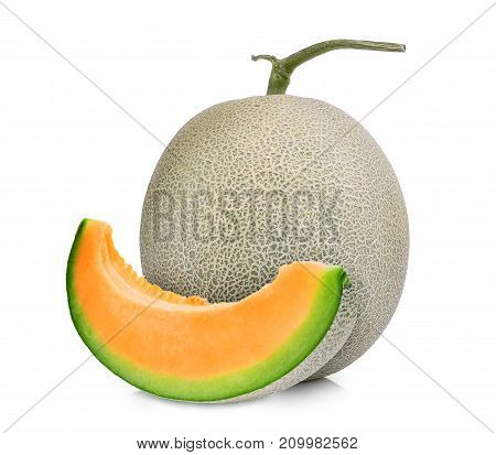 whole and slice of japanese melons orange melon or cantaloupe melon isolated on white background