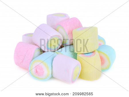 colorful of marshmallow isolated on white background