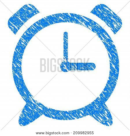 Grunge Alarm Clock icon with scratched design and grungy texture. Unclean vector blue Alarm Clock pictogram for rubber seal stamp imitations and watermarks. Draft emblem symbol.