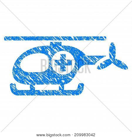 Grunge Ambulance Helicopter icon with scratched design and dirty texture. Unclean vector blue Ambulance Helicopter pictogram for rubber seal stamp imitations and watermarks. Draft emblem symbol.