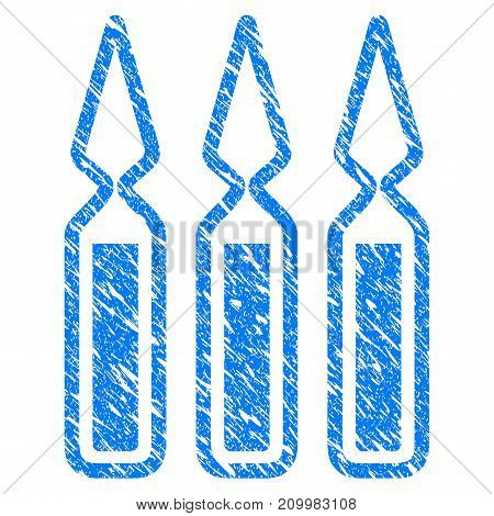 Grunge Ampoules icon with scratched design and scratched texture. Unclean vector blue Ampoules pictogram for rubber seal stamp imitations and watermarks. Draft sign symbol.