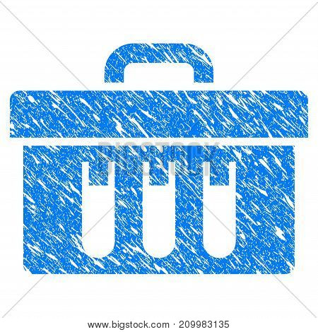 Grunge Analysis Case icon with scratched design and dirty texture. Unclean vector blue Analysis Case pictogram for rubber seal stamp imitations and watermarks. Draft emblem symbol.