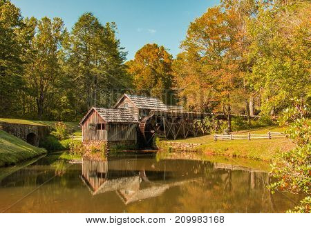 Mabry Grist Mill in Meadows of Dan Virginia on a Fall Day