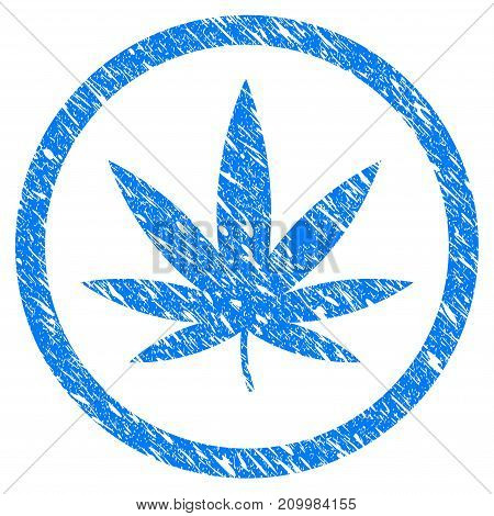 Grunge Cannabis icon with scratched design and grungy texture. Unclean vector blue Cannabis pictogram for rubber seal stamp imitations and watermarks. Draft sign symbol.