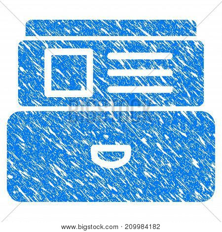 Grunge Card Index icon with scratched design and dust texture. Unclean vector blue Card Index pictogram for rubber seal stamp imitations and watermarks. Draft sign symbol.