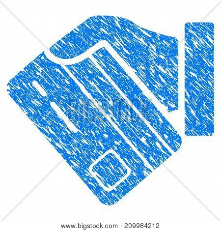 Grunge Card Payment Hand icon with scratched design and scratched texture. Unclean vector blue Card Payment Hand pictogram for rubber seal stamp imitations and watermarks. Draft sticker symbol.