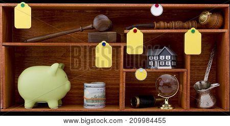 Various items for travel on wooden shelves