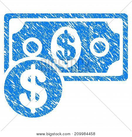 Grunge Cash icon with scratched design and dust texture. Unclean vector blue Cash pictogram for rubber seal stamp imitations and watermarks. Draft sticker symbol.