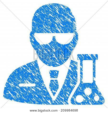 Grunge Chemical Scientist icon with scratched design and dust texture. Unclean vector blue Chemical Scientist pictogram for rubber seal stamp imitations and watermarks. Draft sticker symbol.