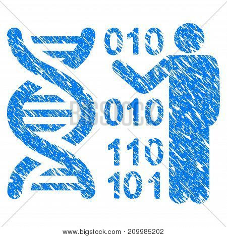 Grunge DNA Research icon with scratched design and dirty texture. Unclean vector blue DNA Research pictogram for rubber seal stamp imitations and watermarks. Draft emblem symbol.