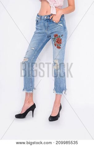 Woman legs in embroidered flowers , and black high heels shoes posing in studio