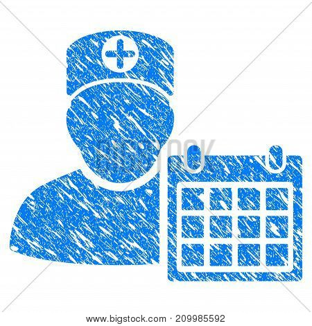 Grunge Doctor Schedule Calendar icon with scratched design and unclean texture. Unclean vector blue Doctor Schedule Calendar pictogram for rubber seal stamp imitations and watermarks.