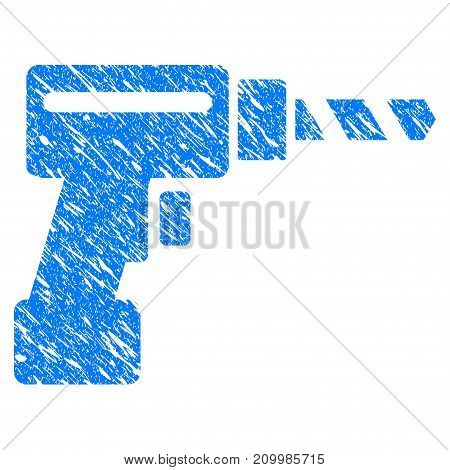 Grunge Drill icon with scratched design and dust texture. Unclean vector blue Drill pictogram for rubber seal stamp imitations and watermarks. Draft sign symbol.