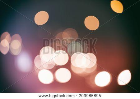 City Night Light Blurred Bokeh. Circles Of Light