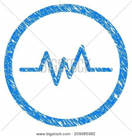 Grunge Echogram icon with scratched design and unclean texture. Unclean vector blue Echogram pictogram for rubber seal stamp imitations and watermarks. Draft sign symbol.