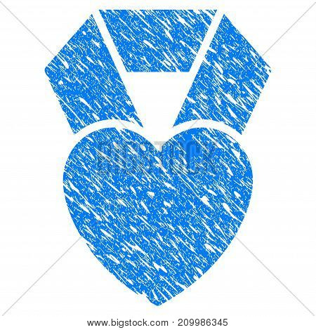 Grunge Favorite Heart Award icon with scratched design and grungy texture. Unclean vector blue Favorite Heart Award pictogram for rubber seal stamp imitations and watermarks. Draft emblem symbol.