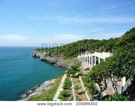 A beautiful view of sea and cliff at Sri Chang island, Thailand