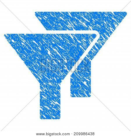 Grunge Filters icon with scratched design and scratched texture. Unclean vector blue Filters pictogram for rubber seal stamp imitations and watermarks. Draft emblem symbol.