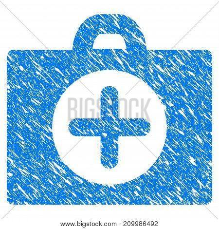 Grunge First Aid icon with scratched design and grungy texture. Unclean vector blue First Aid pictogram for rubber seal stamp imitations and watermarks. Draft sign symbol.