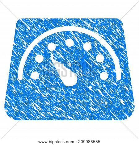 Grunge Floor Scales icon with scratched design and dirty texture. Unclean vector blue Floor Scales pictogram for rubber seal stamp imitations and watermarks. Draft sticker symbol.