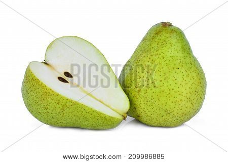 whole and half of green packham pear isolated on white background